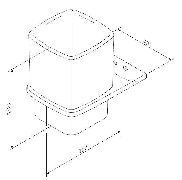 A50A34300 Inspire 2.0, Стеклянный стакан с настенным держателем, хром, шт