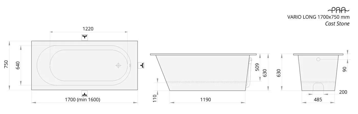 Ванна отдельностояшая 160x170x75 Vario Long VAVARL00 PAA
